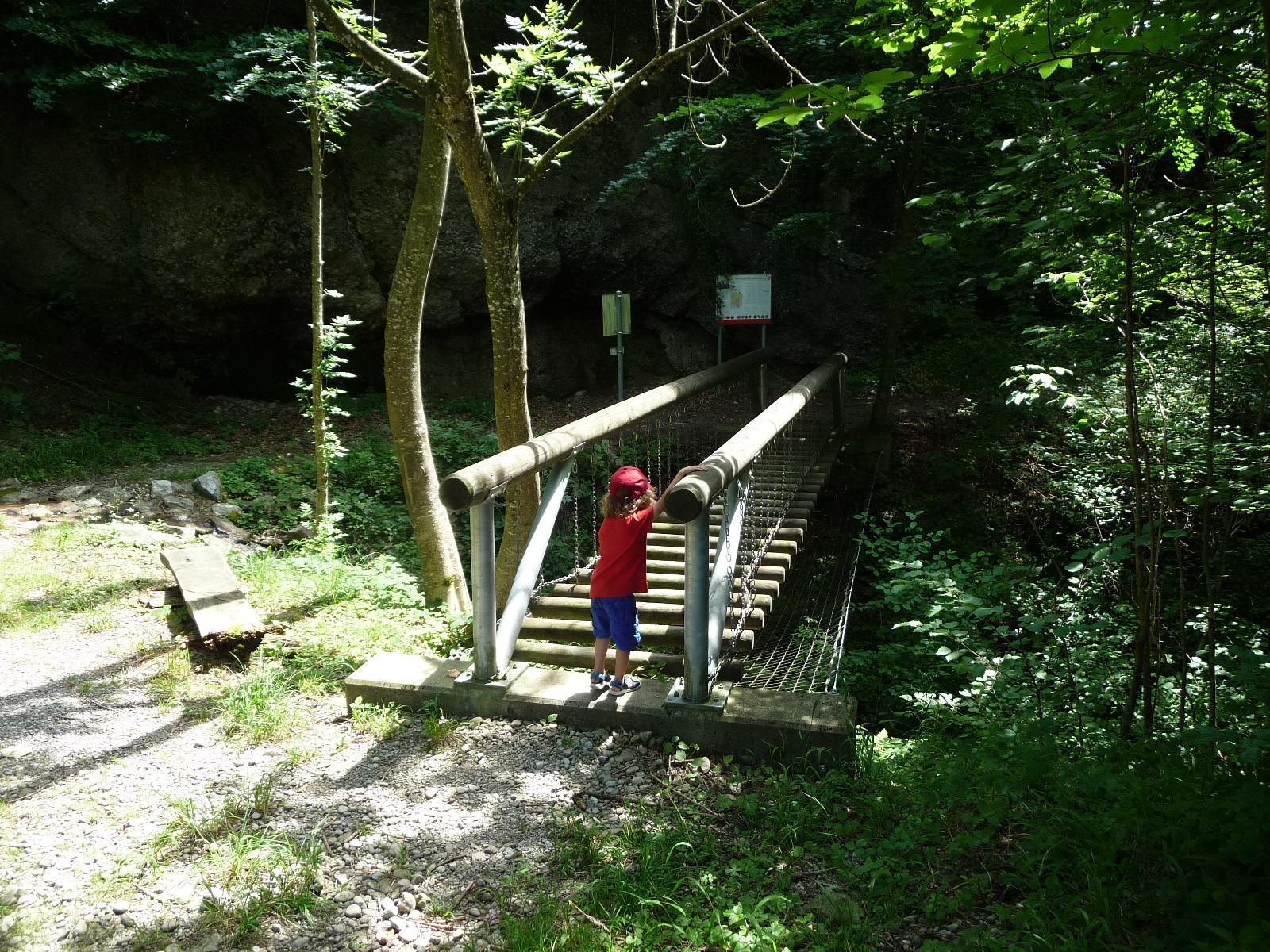 Auf der Familienwanderung in Appenzell geht es auch über wacklige Brücken