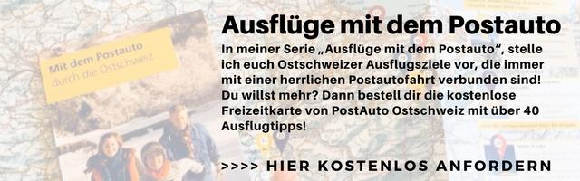 Bestell dir eine kostenlose Freizeitkarte von PostAuto Ostchweiz mit über 40 Ausflugsideen in der Ostschweiz.