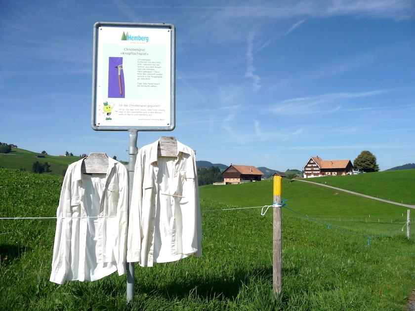 Auf dem Chnobelweg Hemberg im Neckertal gibt es knifflige Aufgaben zu lösen