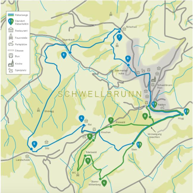Der Rätselweg Schwellbrunn ist ein Ausflugsziel für die ganze Familie. Es gibt 2 Routen, eine Kurze und eine Lange.