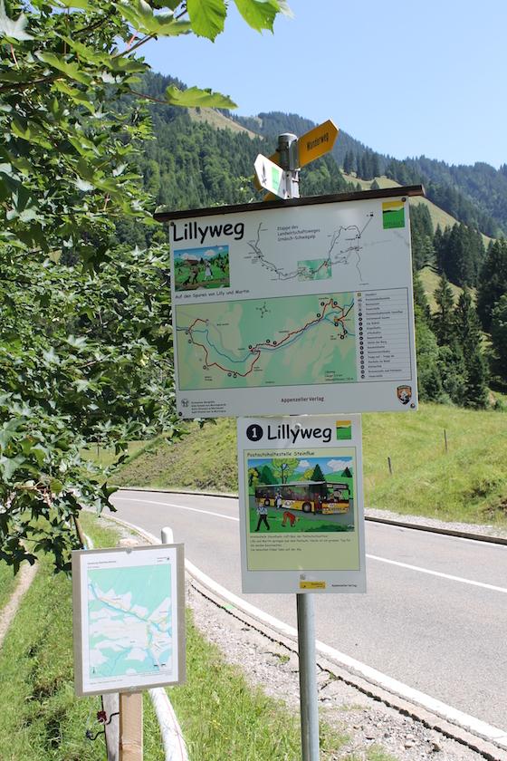 Übersichtskarte für den Lillyweg Urnäsch.