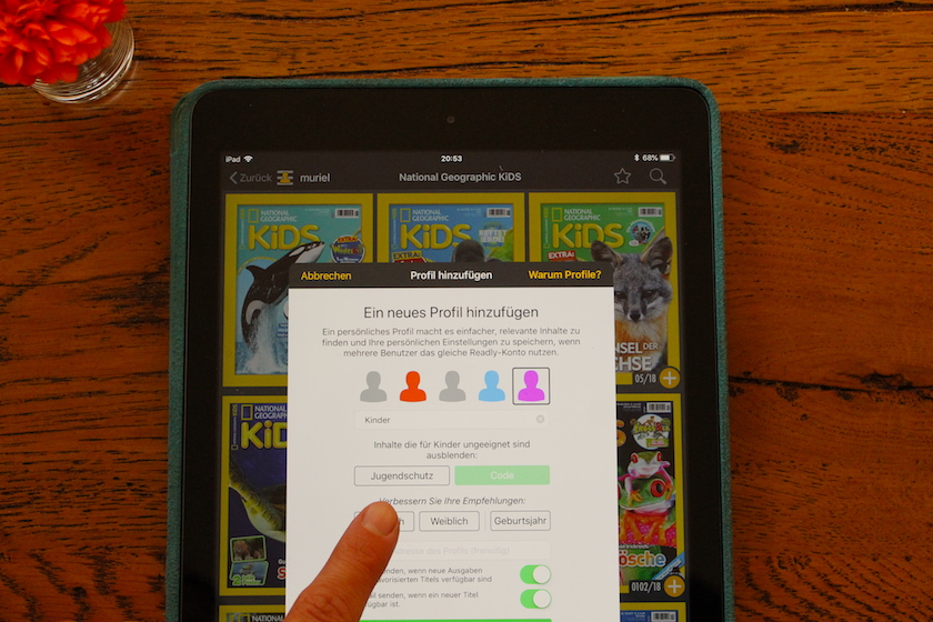 Für die Kinder kann bei Readly ein Extra Profil erstellt werden in dem der Jugendschutz aktiviert wird.