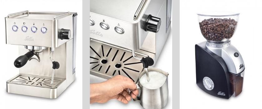 Die Solis Barista Gran Gusto ist eine klassische Espressomaschine mit Kolben, dazu ein passendes Mahlwerk