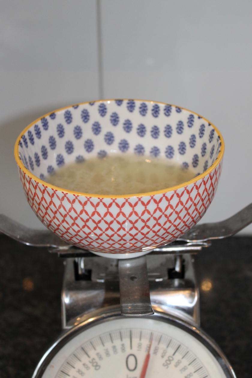 Rezept Tanneschösslihonig - Wasser absieben und wägen