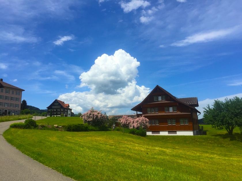 Ein schöner Spaziergang vom Banhhof Ebnat-Kappel zum Sinnepark. Vorbei an alten Toggenburger Häusern.
