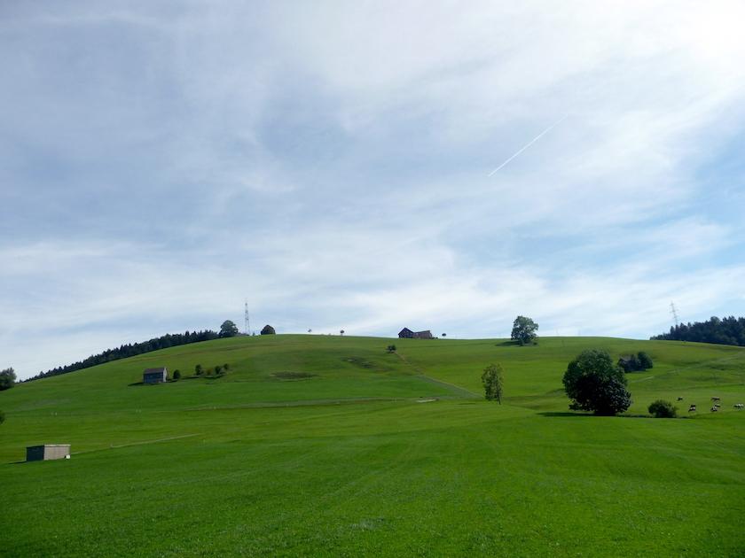 Das Neckertal trumpft mit einer herrlichen Landschaft auf. Blick vom Chnobelweg Hemberg